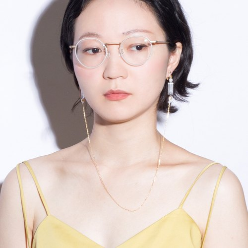 YUNSUO-original design-long tassel with eyeglass shape ear chip and earrings