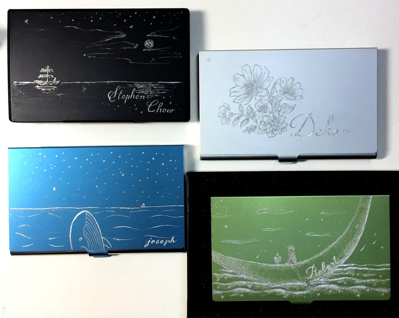 【Hand-engraved Business Card Case】promotion christmas anniv birthday gift