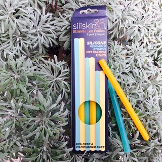 American silikids [six into the silicone environmental protection straw group - three sizes] yellow green partner