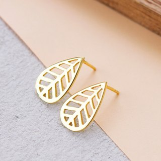 Leaf Earring in Brass with 14k Yellow Gold plating