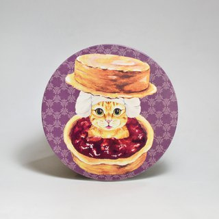 Water-absorbing ceramic coaster - orange cat red bean cake sand bath (send stickers) (can be purchased custom text)