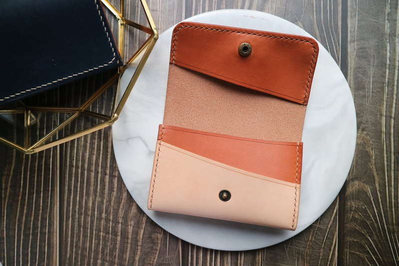 Arts and create inter-small | vegetable tanned leather hand-stitching design fight color large-capacity business card holder card holder card holder