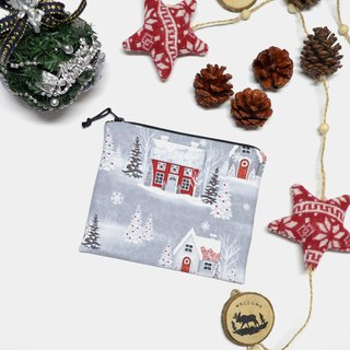 Holiday Homecoming Houses Small Zippered Bag / Catch All Bag stores charger cords/ cosmetic bag / Zippered Pouch / Small Pouch / coin purse / storage pouch / earphone holder / bag tidy
