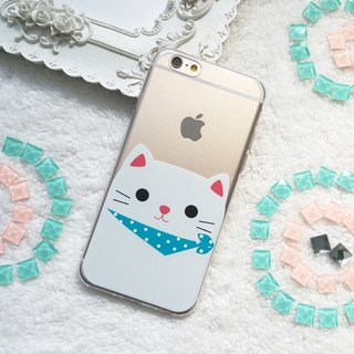 Grey Cat Kitty Clear TPU Phone Case iPhone X 8 7 plus Samsung Note 8 S8 S7 edge