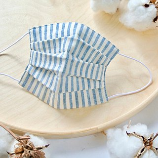 Natural cotton handmade mask Stripe Navy | Reduce cloudiness of glasses