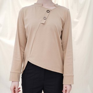 Asymmetric details T-shirt with metal rings in Camel