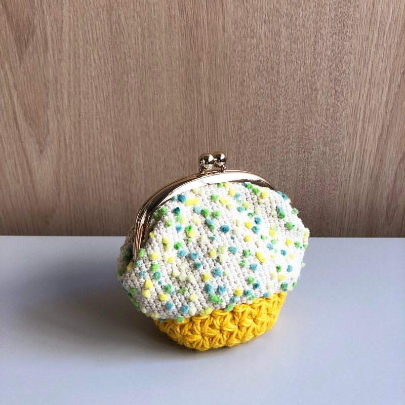 Hand-woven mouth gold package - lime soda coin purse