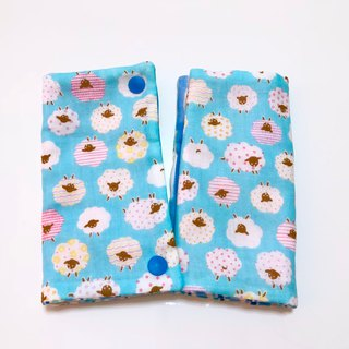 Small sheep (blue) / (pair) Japanese six-layer yarn handmade double-sided straps saliva towel. Sling saliva towel