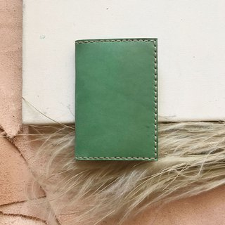 Leather clip _ business card holder _ apple green