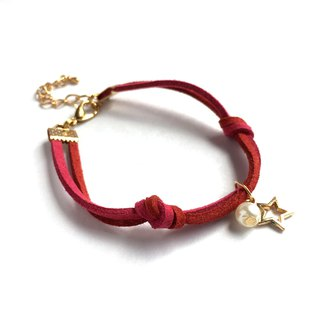 Handmade Simple Stylish Star Bracelets Rose Gold Series–berry red