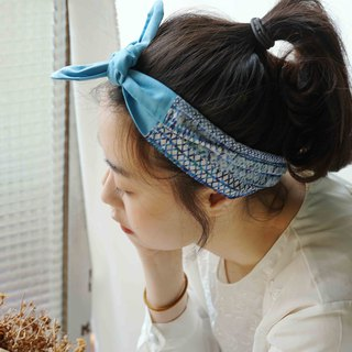 Japanese-style double-use double-headed cross hair tie - sky blue