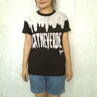 Hong Kong design paw font stylistic hand drawing black t-shirt white flocking