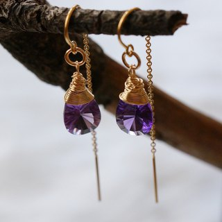 US 1/20 14K Gold Filled, Faceted Tear Drop-shaped Amethyst Earrings ( pr count )