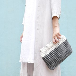 Duo Color Clutch, crochet, knit, handmade (Inked / Dark Grey)