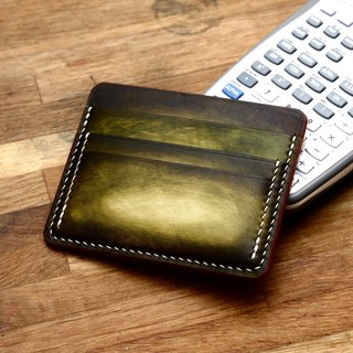 Hand made handmade handcuffed cucumber green Italian vegetable tanned leather minimalist wallet driving position