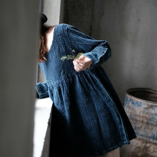 Limited cooperation retro denim blue long-sleeved dress denim cloth hand-made blue dyed loose dress