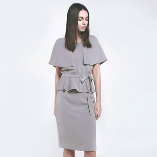 Grey color round neck caped long dress various ways of wearing
