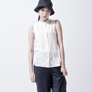 Shoulder line dislocation shirt SHOULDER DETAIL SLEEVELESS BLOUSE