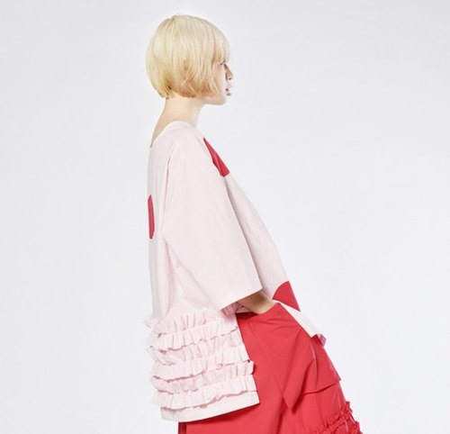 Red little pink lace blouses - imakokoni