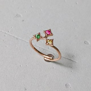 Christmas tricolor holly leaf ring - 18K rose gold