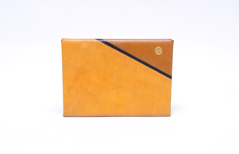 Handmade Leather Slim Wallet / Card Case - Hand painted are series Caramel S (custom made available)