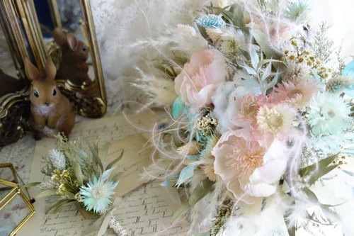 Wedding Floral Series ~ Fantasy Pink Blue Bouquet, Corsage Group