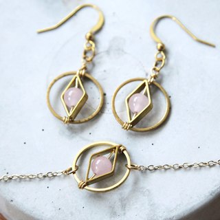 Geometric Rose Quartz Bracelet brass earrings special packages