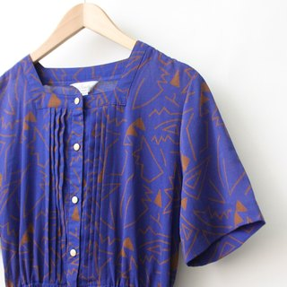 [RE0322D1068] Nippon purple geometric print short-sleeved dress spring and summer vintage