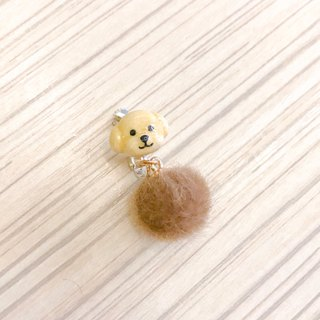 Little dog with hairy balls  ear clip   earring