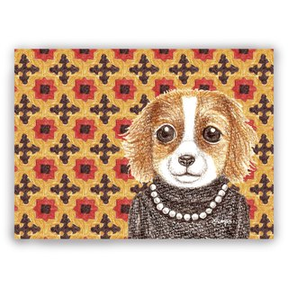 Hand-drawn illustration Universal card / postcard / card / illustration card--retro tile 05+ turtleneck cocker spaniel