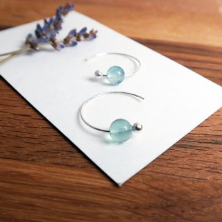 Blue Fluorite Crescent Earrings (Large) - 925 Sterling Silver Natural Stone Ear Pins