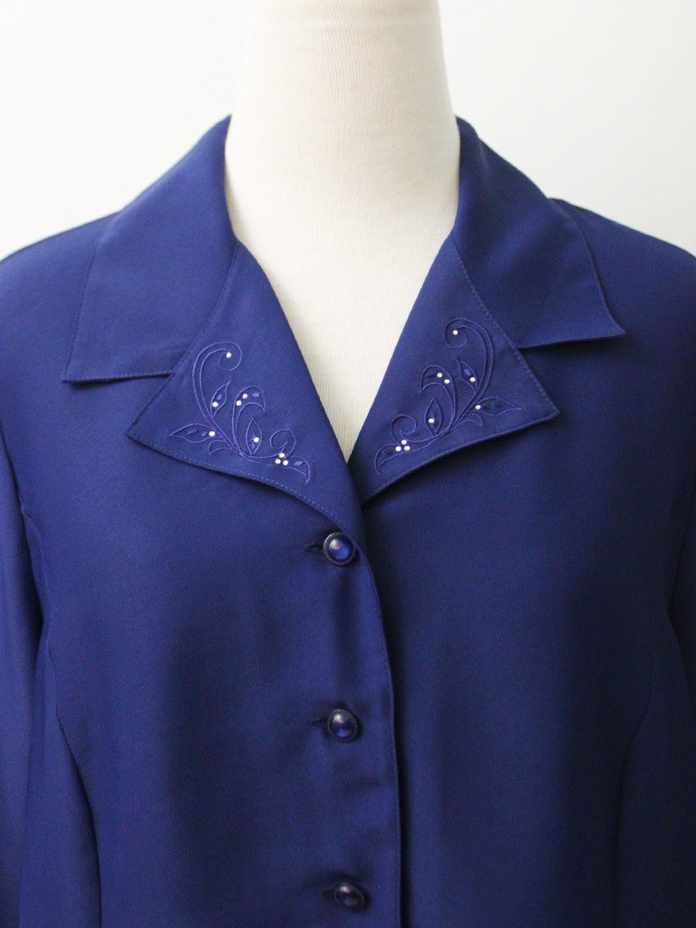 Vintage Embroidery Collar Deep Blue Loose 90s European Vintage Shirt European Vintage Blouse
