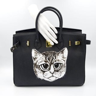 TIMBEE LO X GOOKASO designer hand-painted cat pattern suede leather handbag bag