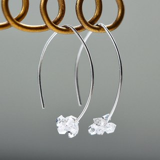 silver925-Herkimerdiamond mini merquise pierced earrings(sterling silver)
