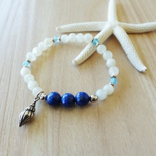 The sound of the tide. Moonstone Sapphire sea lapis bracelet