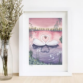 Love Swan- illustrated print