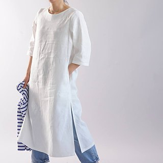 wafu   linen dress / cotton / 3/4 sleeve / midi length / A-line / white / a32-64