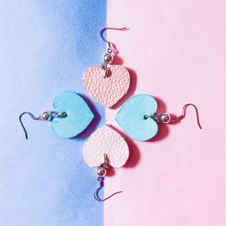 Pink love leather earrings