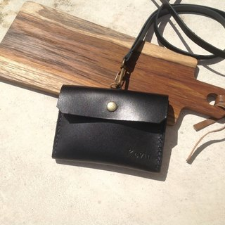 Horizontal ID card holder, ID card holder, card holder, back type, hand-stitched, genuine leather. Black