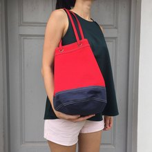 Red /  navy Canvas 2way Bucket Bag w/  Strap Leather Handles