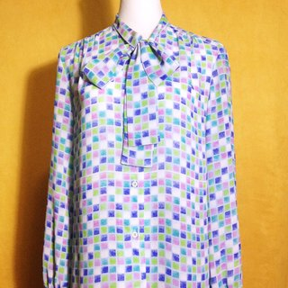Ping-pong vintage [vintage shirt / color checkered tie chiffon vintage shirt] abroad back VINTAGE