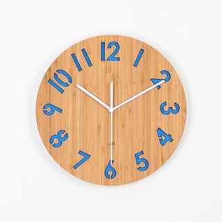LOO Wall Clock. Rotated Numbers Blue