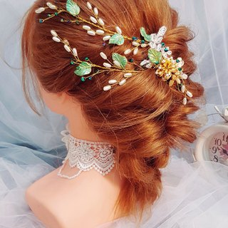 Garden-style bridal tiara ornament three-piece