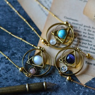 Armillary Sphere Brass Natural Stone Necklace