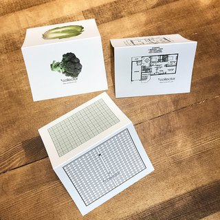 Thank you card / message card Floor plan and vegetables, surreal folding card Mini 3 piece set of manuscript paper