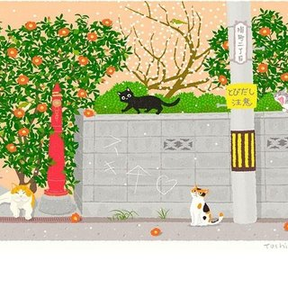 Tabineko illustrations printed sheet -19 | afternoon of cat-cho | Art poster