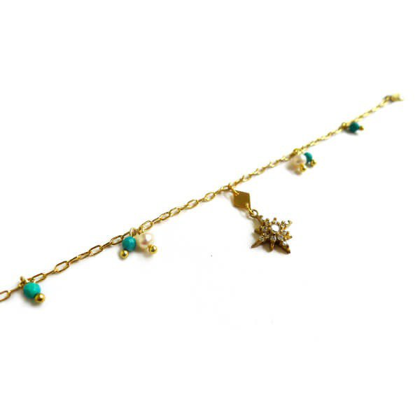 Ficelle | handmade brass natural stone bracelet | [turquoise] Love snow - crystallization