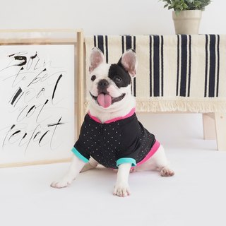 Black Polka Dots Jacket Zipped Shirt | For Dogs