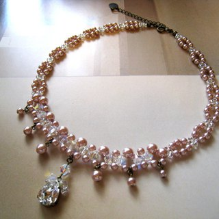 Silky Pearl & Crystal Drop Choker / JD : Pink Bridal*