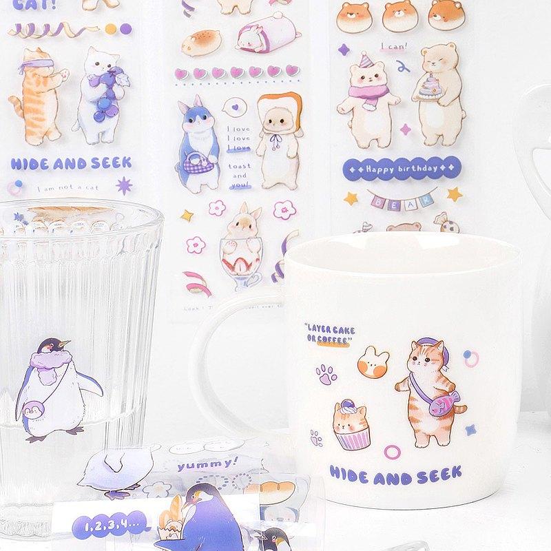 【papermore】歡迎光臨PET膠帶可愛動物貓咪企鵝兔子熊手帳裝飾